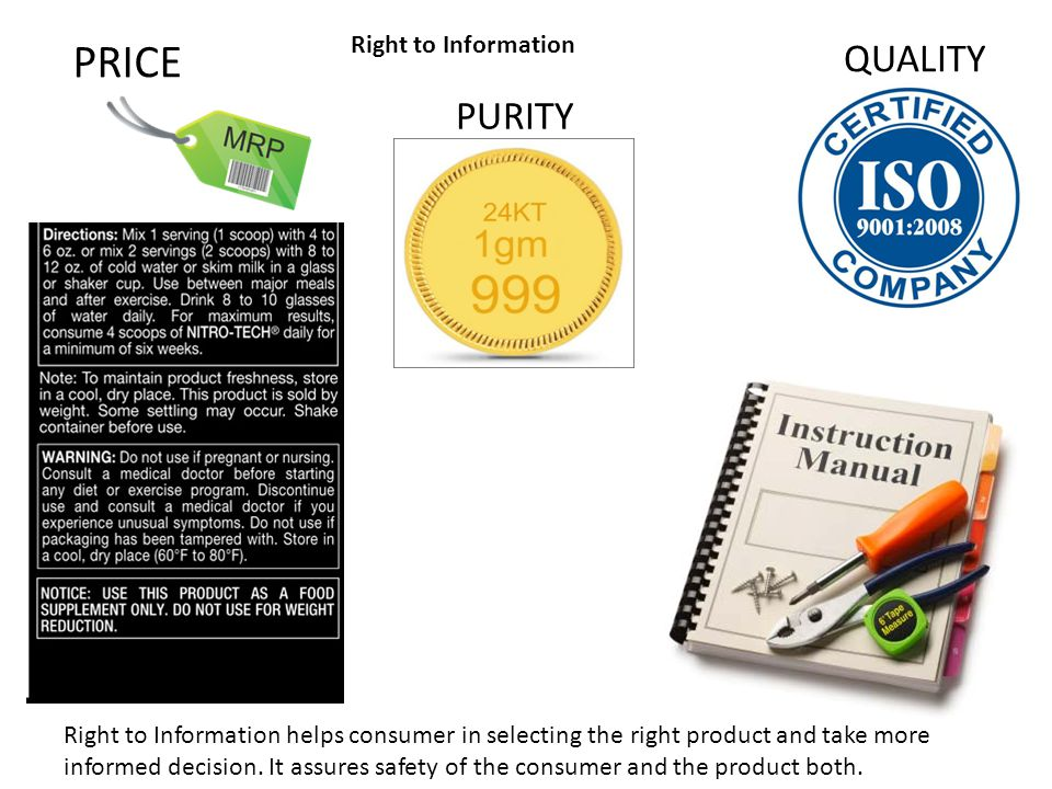 PRICE QUALITY PURITY Right to Information Right to Information helps consumer in selecting the right product and take more informed decision. It assur