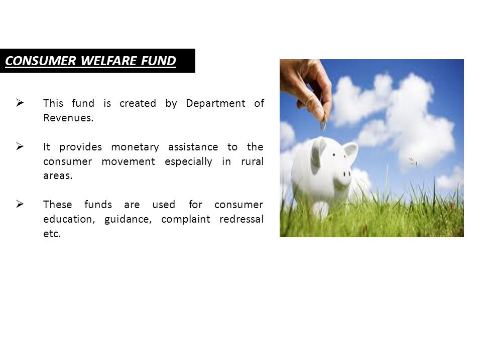 CONSUMER WELFARE FUND  This fund is created by Department of Revenues.  It provides monetary assistance to the consumer movement especially in rural