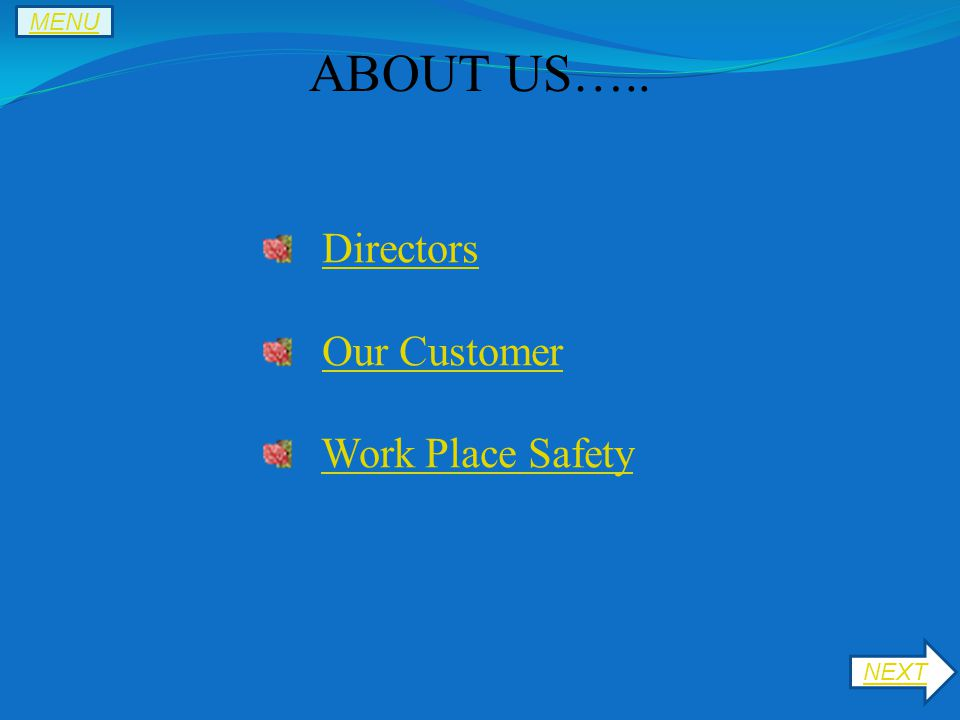 ABOUT US….. Directors Our Customer Work Place Safety NEXT MENU