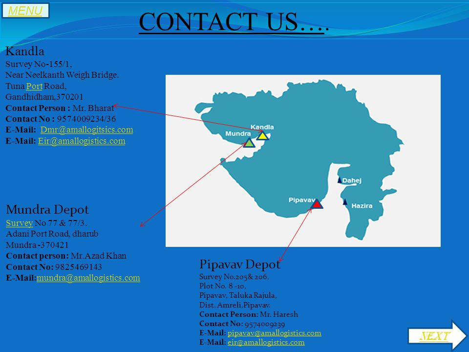 CONTACT US…. Kandla Survey No-155/1, Near Neelkanth Weigh Bridge.