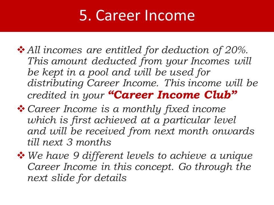  All incomes are entitled for deduction of 20%.