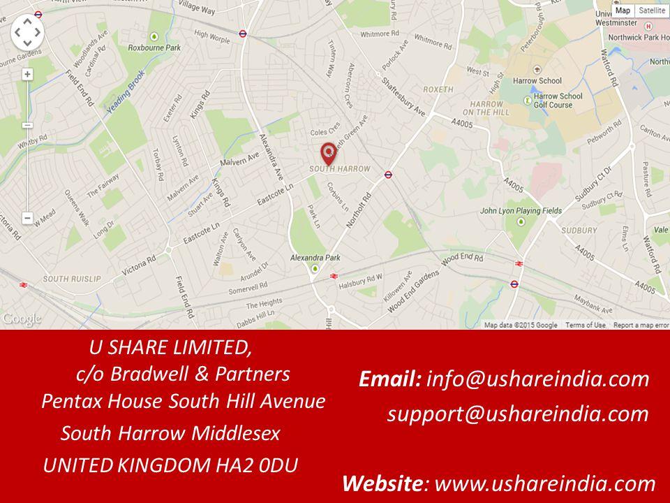 U SHARE LIMITED, c/o Bradwell & Partners Pentax House South Hill Avenue South Harrow Middlesex UNITED KINGDOM HA2 0DU Email: info@ushareindia.com support@ushareindia.com Website: www.ushareindia.com
