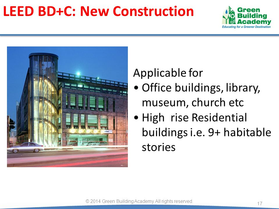 Applicable for Office buildings, library, museum, church etc High rise Residential buildings i.e.