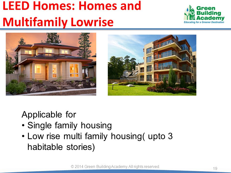 LEED Homes: Homes and Multifamily Lowrise 19 © 2014 Green Building Academy.