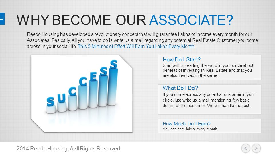 WHY BECOME OUR ASSOCIATE. 2014 Reedo Housing, Aall Rights Reserved.