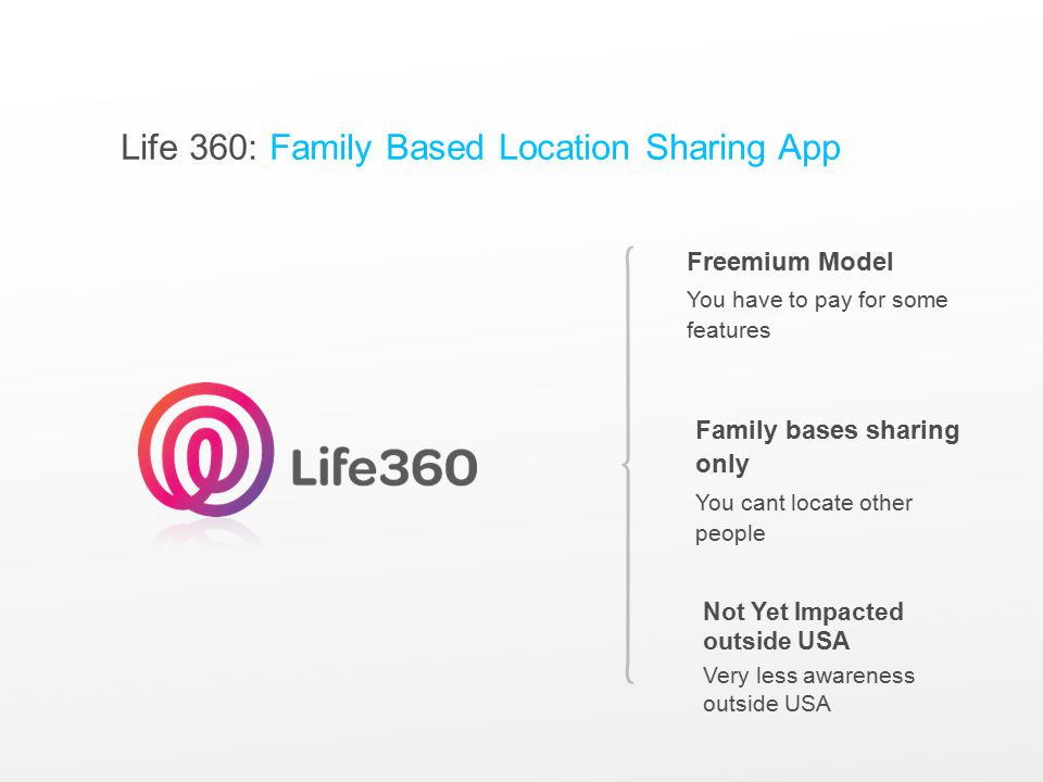 Life 360: Family Based Location Sharing App Freemium Model You have to pay for some features Family bases sharing only You cant locate other people Not Yet Impacted outside USA Very less awareness outside USA