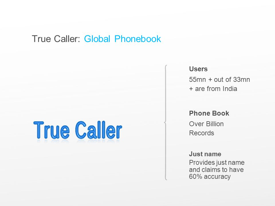 True Caller: Global Phonebook Users 55mn + out of 33mn + are from India Phone Book Over Billion Records Just name Provides just name and claims to have 60% accuracy