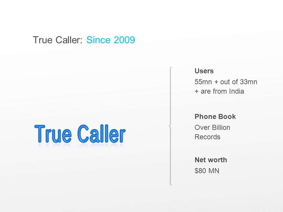 True Caller: Since 2009 Users 55mn + out of 33mn + are from India Phone Book Over Billion Records Net worth $80 MN