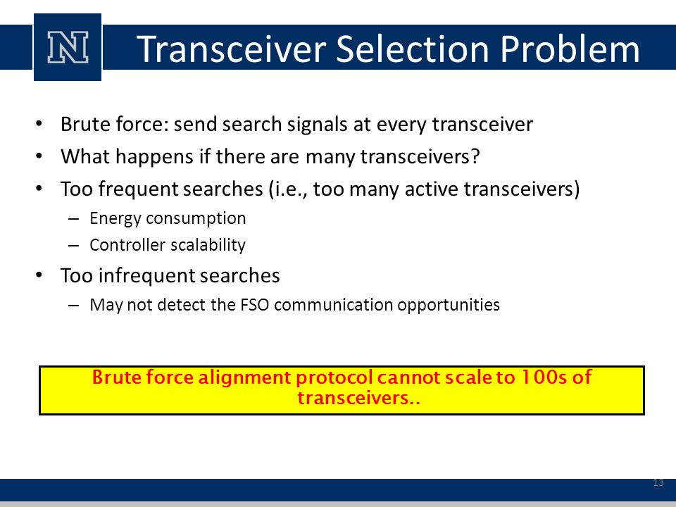 Transceiver Selection Problem Brute force: send search signals at every transceiver What happens if there are many transceivers.