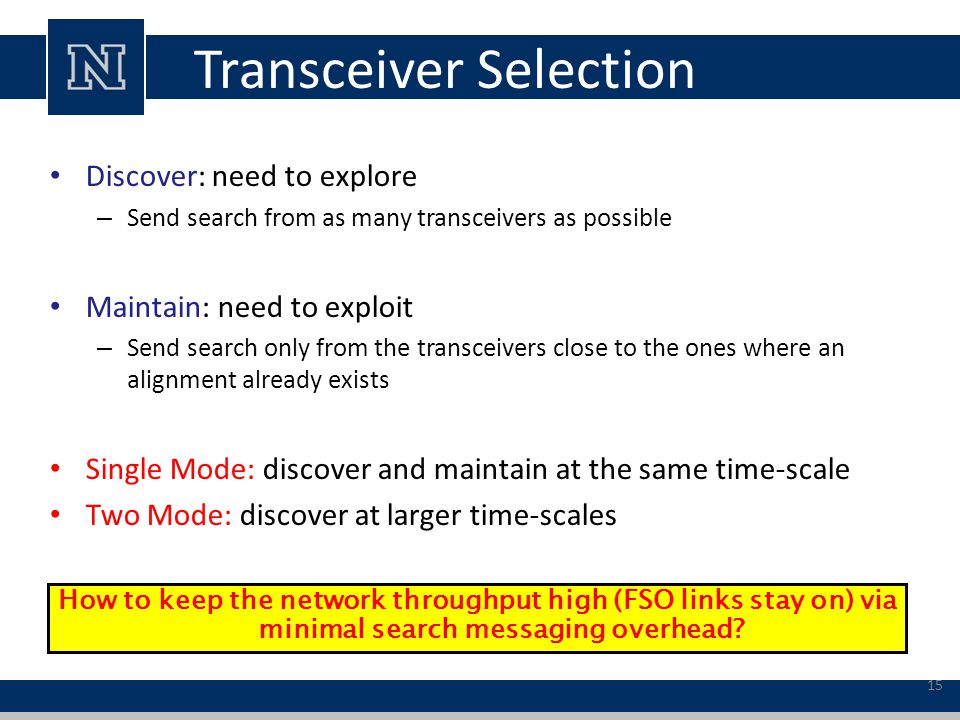 Transceiver Selection Discover: need to explore – Send search from as many transceivers as possible Maintain: need to exploit – Send search only from the transceivers close to the ones where an alignment already exists Single Mode: discover and maintain at the same time-scale Two Mode: discover at larger time-scales How to keep the network throughput high (FSO links stay on) via minimal search messaging overhead.