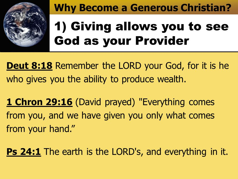 Why Become a Generous Christian.