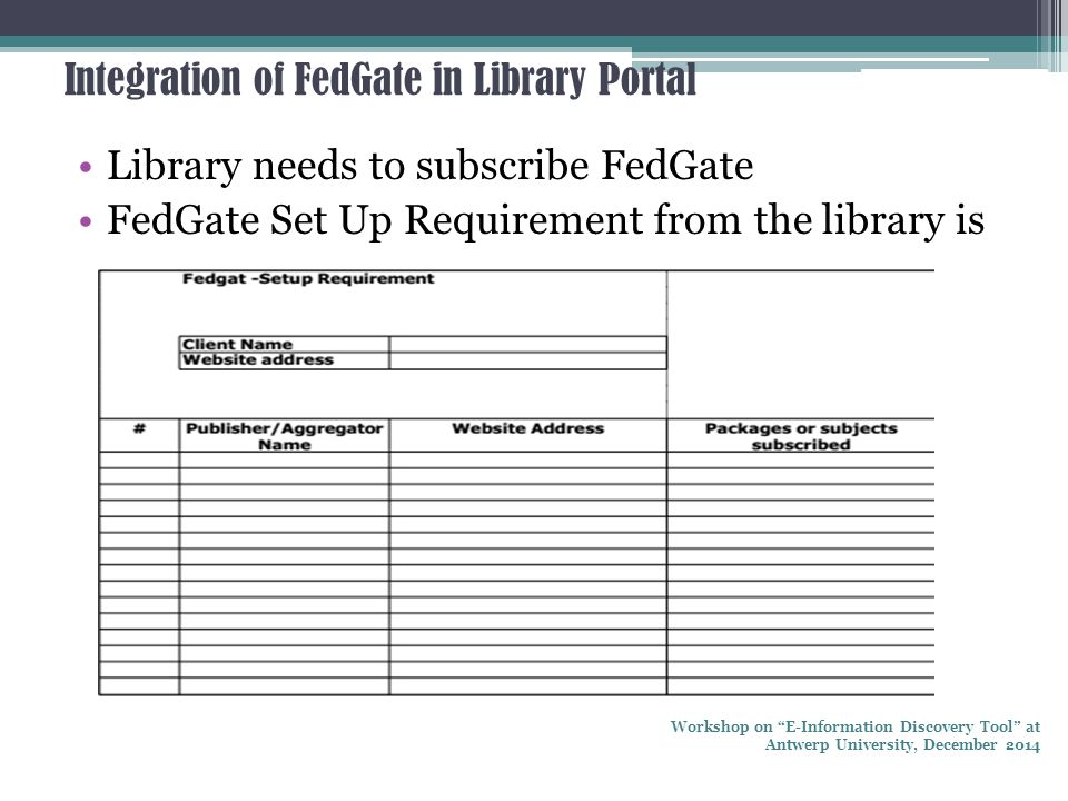 "Integration of FedGate in Library Portal Library needs to subscribe FedGate FedGate Set Up Requirement from the library is Workshop on ""E-Information"