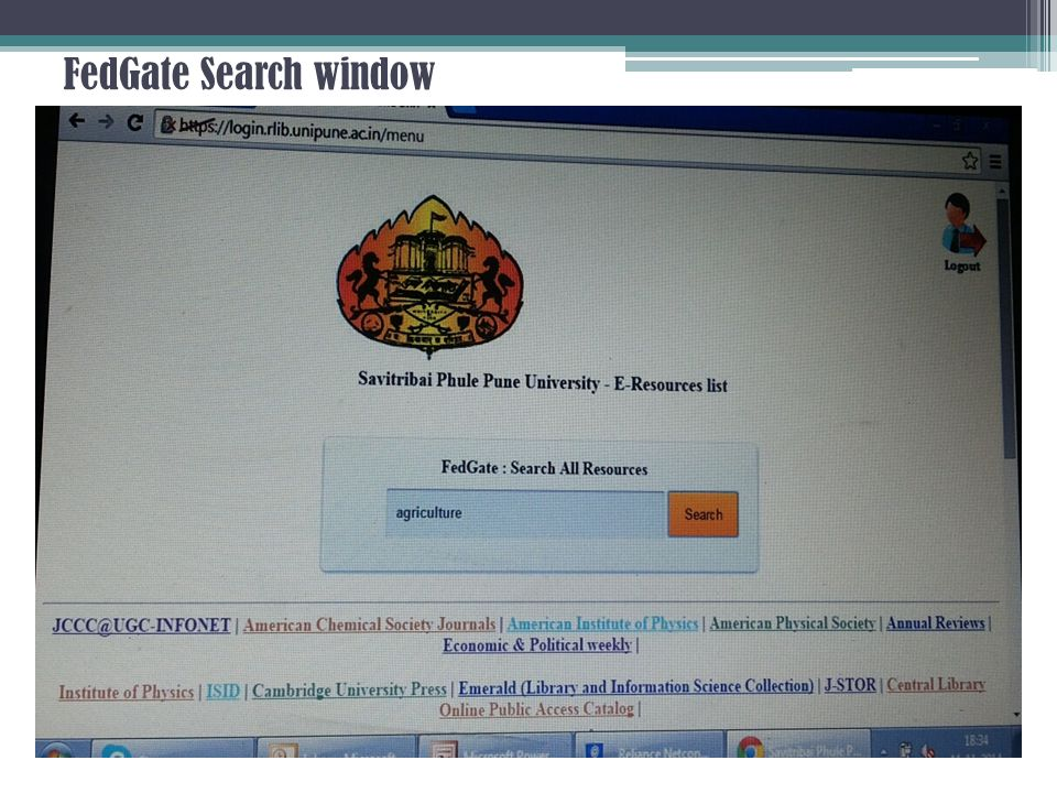 FedGate Search window