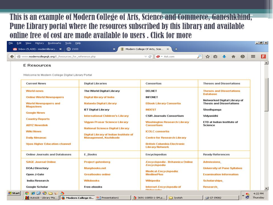 This is an example of Modern College of Arts, Science and Commerce, Ganeshkhind, Pune Library portal where the resources subscribed by this library an