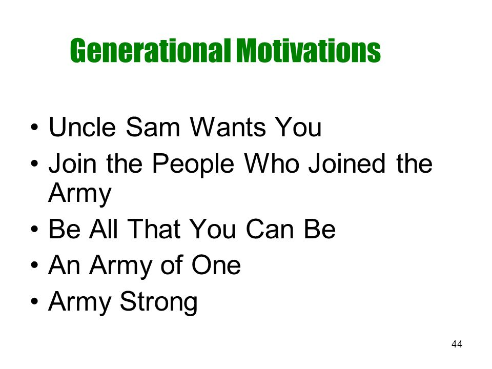 44 Generational Motivations Uncle Sam Wants You Join the People Who Joined the Army Be All That You Can Be An Army of One Army Strong
