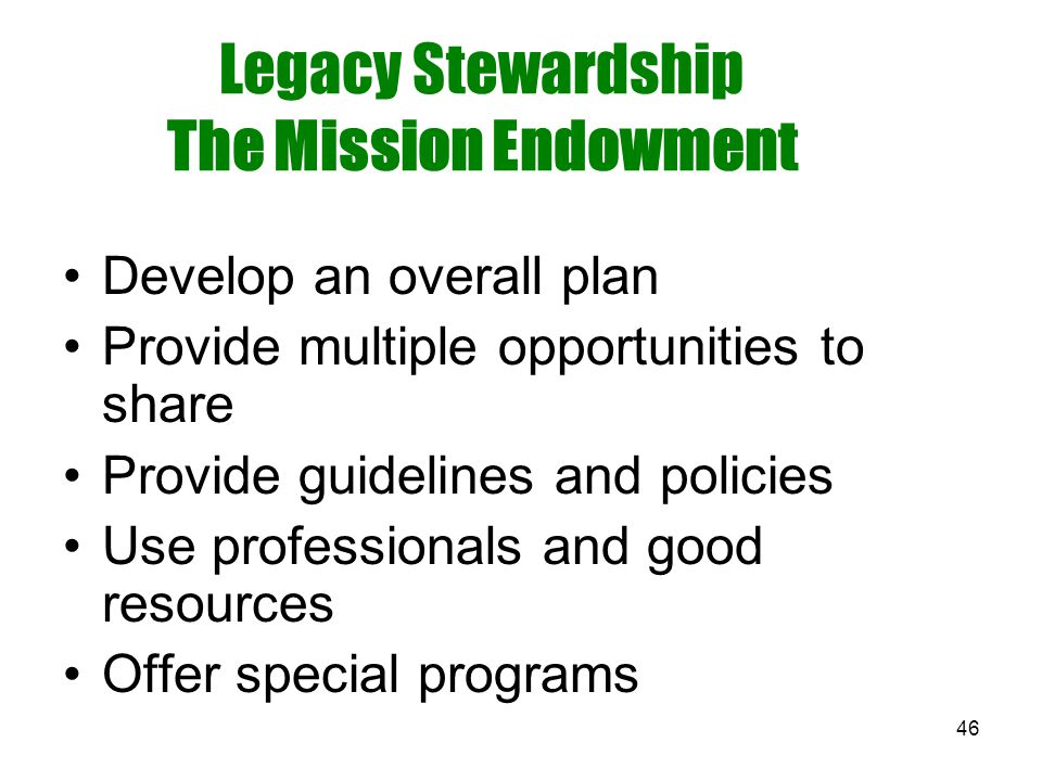 46 Legacy Stewardship The Mission Endowment Develop an overall plan Provide multiple opportunities to share Provide guidelines and policies Use profes