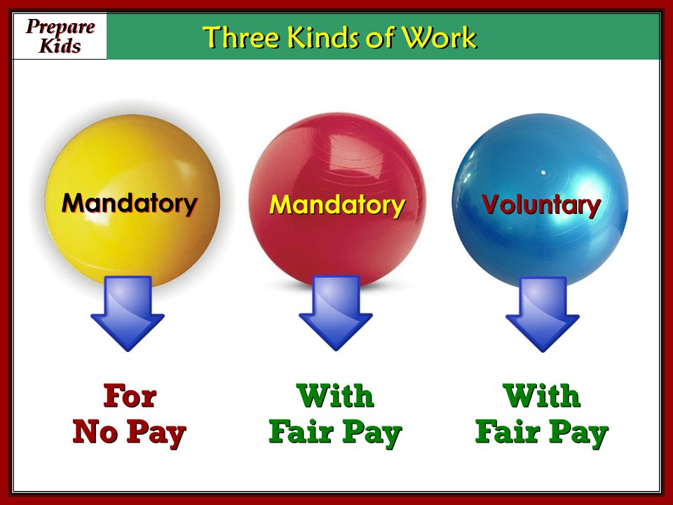 Prepare Kids Prepare Kids Three Kinds of Work Mandatory Voluntary For No Pay For No Pay With Fair Pay With Fair Pay With Fair Pay With Fair Pay