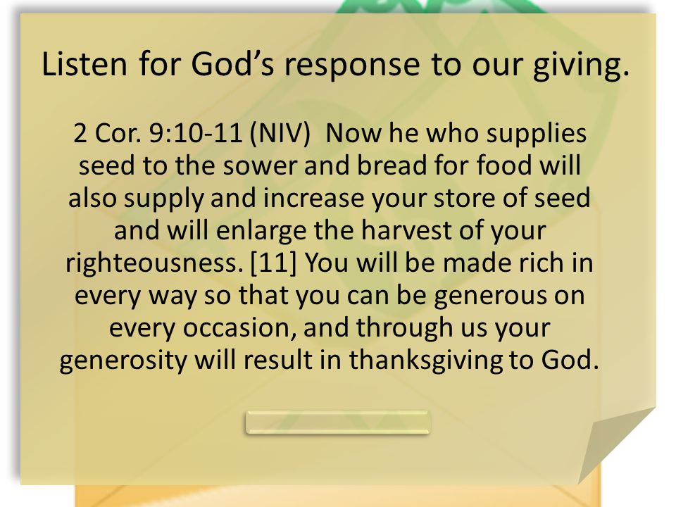Harvest of Righteousness What does God provide.What results from the generosity of Christians.