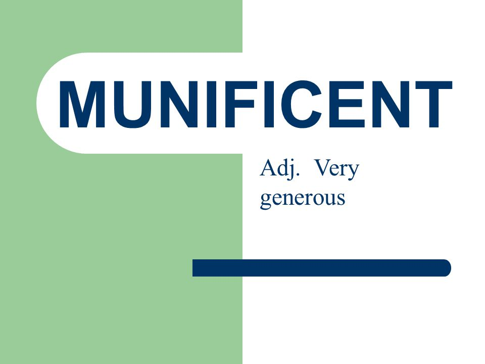 MUNIFICENT Adj. Very generous