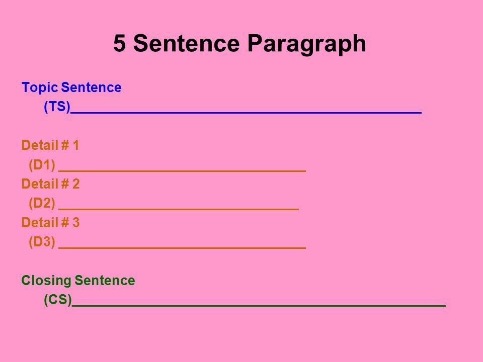 WEB:5 Sentence-¶ Topic Sentence Detail # 1Detail # 2 Closing Sentence Detail # 3