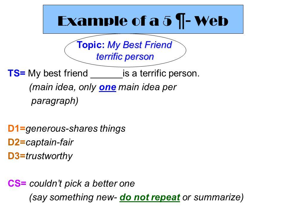 Simple 5 Sentence Paragraph My Best Friend TS: My best friend Jenny is a terrific person.