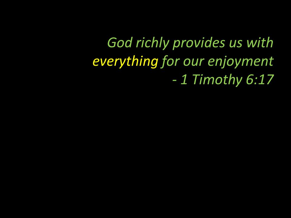 God richly provides us with everything for our enjoyment - 1 Timothy 6:17