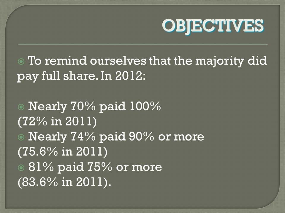  To remind ourselves that the majority did pay full share.