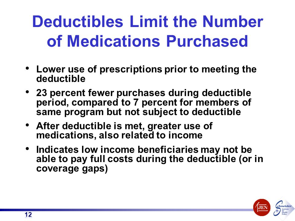 12 Lower use of prescriptions prior to meeting the deductible 23 percent fewer purchases during deductible period, compared to 7 percent for members o