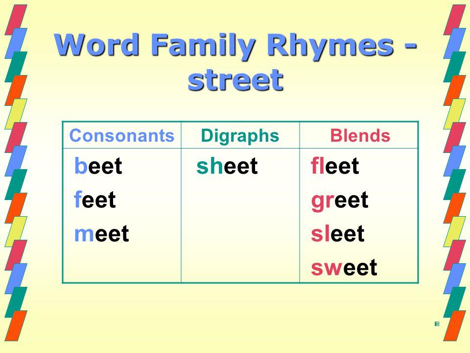 Word Family Rhymes - street ConsonantsDigraphs Blends beet feet meet sheet fleet greet sleet sweet