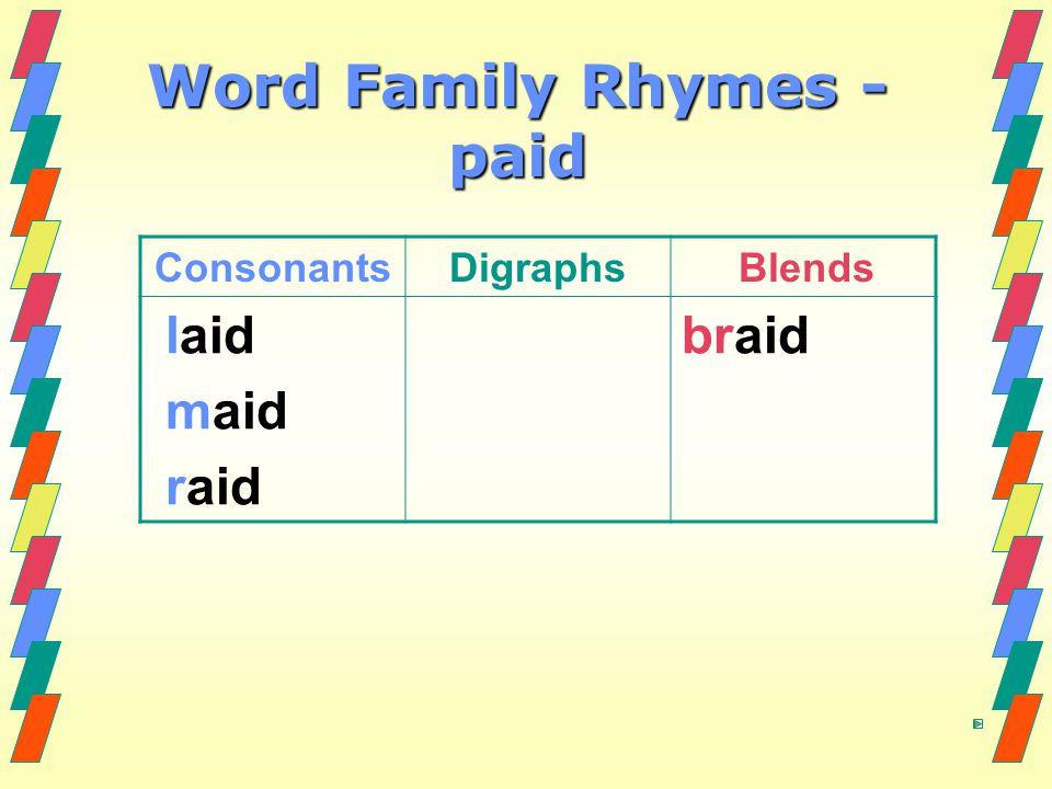 Word Family Rhymes - paid ConsonantsDigraphs Blends laid maid raid braid