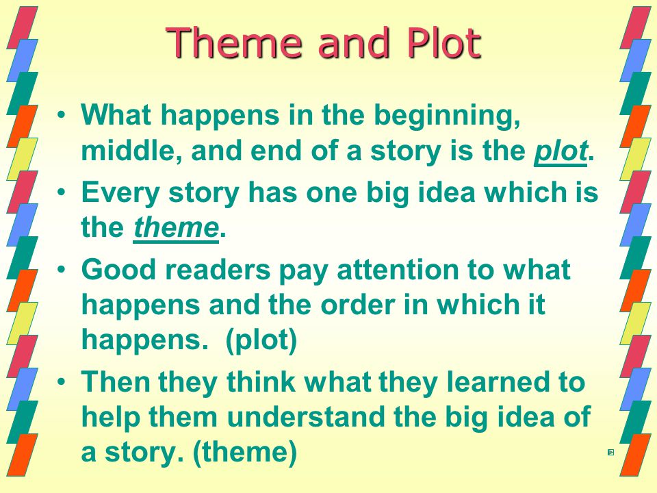 Theme and Plot What happens in the beginning, middle, and end of a story is the plot. Every story has one big idea which is the theme. Good readers pa