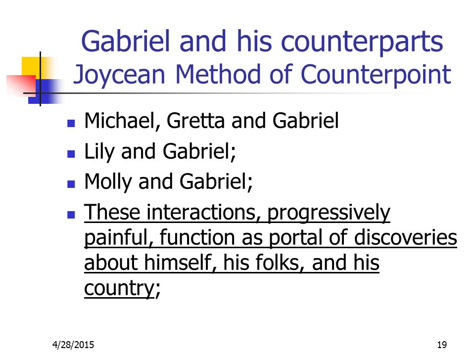 Gabriel and his counterparts Joycean Method of Counterpoint Michael, Gretta and Gabriel Lily and Gabriel; Molly and Gabriel; These interactions, progressively painful, function as portal of discoveries about himself, his folks, and his country; 4/28/201519