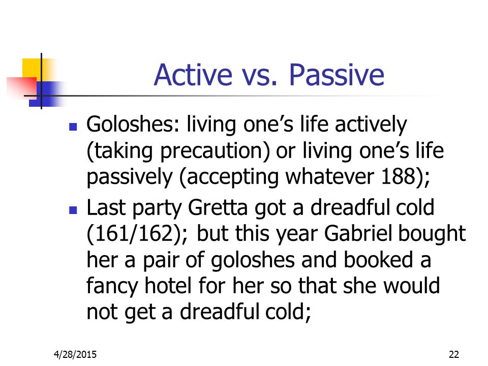 Active vs. Passive Goloshes: living one's life actively (taking precaution) or living one's life passively (accepting whatever 188); Last party Gretta