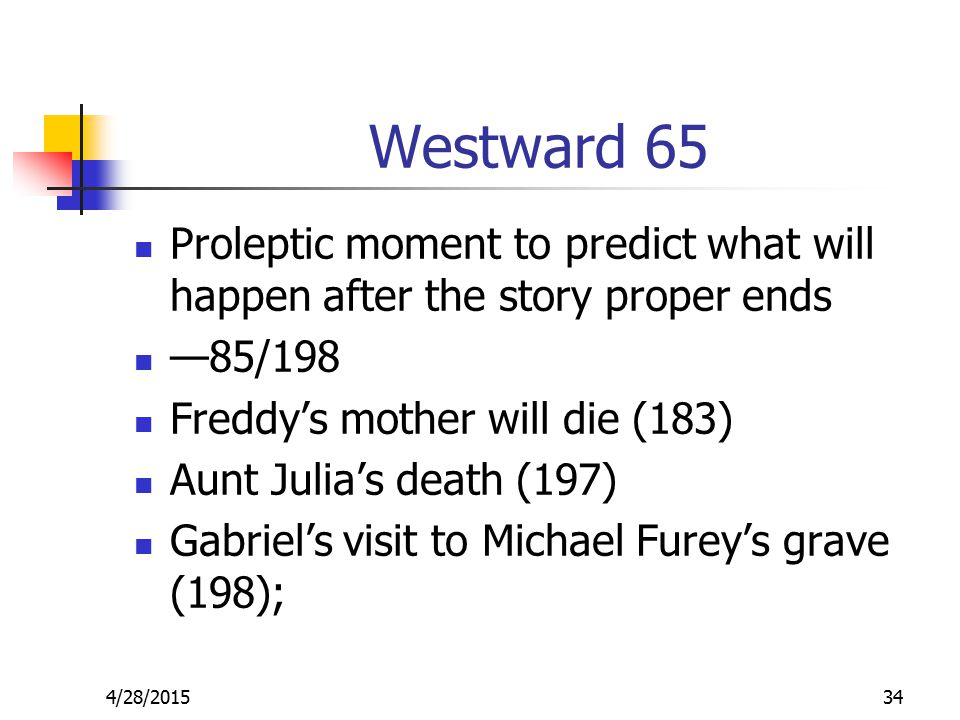 Westward 65 Proleptic moment to predict what will happen after the story proper ends —85/198 Freddy's mother will die (183) Aunt Julia's death (197) Gabriel's visit to Michael Furey's grave (198); 4/28/201534