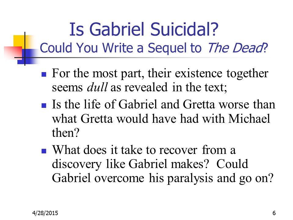 4/28/20156 Is Gabriel Suicidal. Could You Write a Sequel to The Dead.