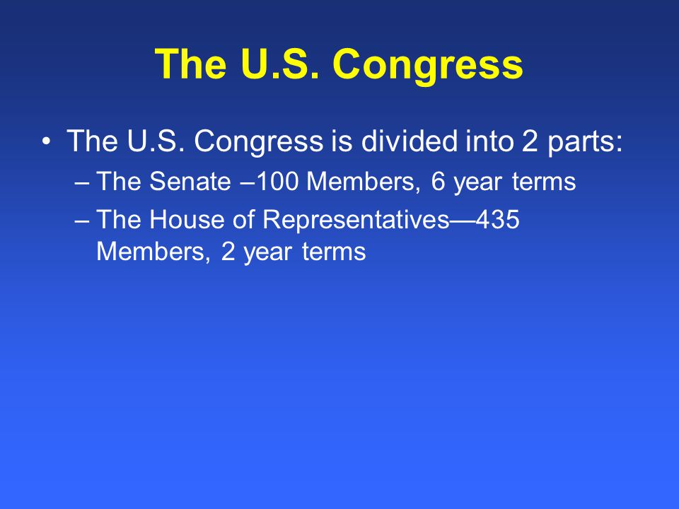 The U.S. Congress The U.S.
