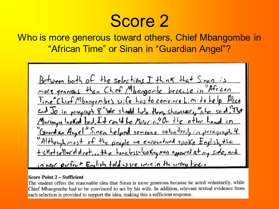 Score 2 Who is more generous toward others, Chief Mbangombe in African Time or Sinan in Guardian Angel