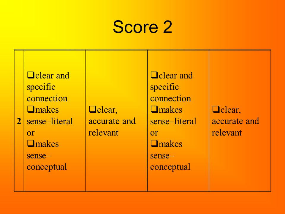 Score 2 2  clear and specific connection  makes sense–literal or  makes sense– conceptual  clear, accurate and relevant  clear and specific conne