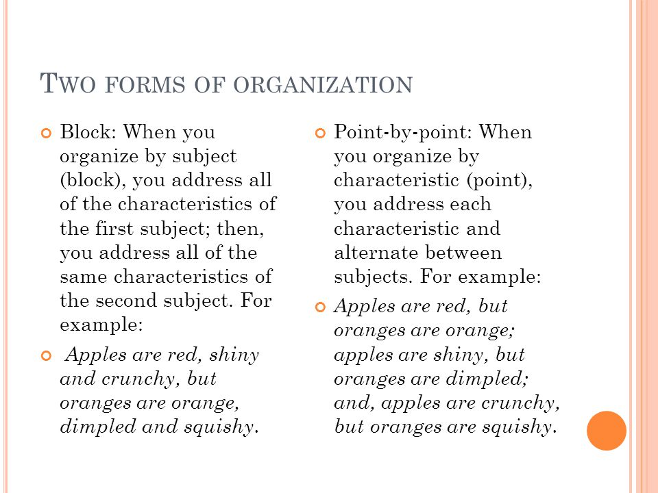 T WO FORMS OF ORGANIZATION Block: When you organize by subject (block), you address all of the characteristics of the first subject; then, you address all of the same characteristics of the second subject.