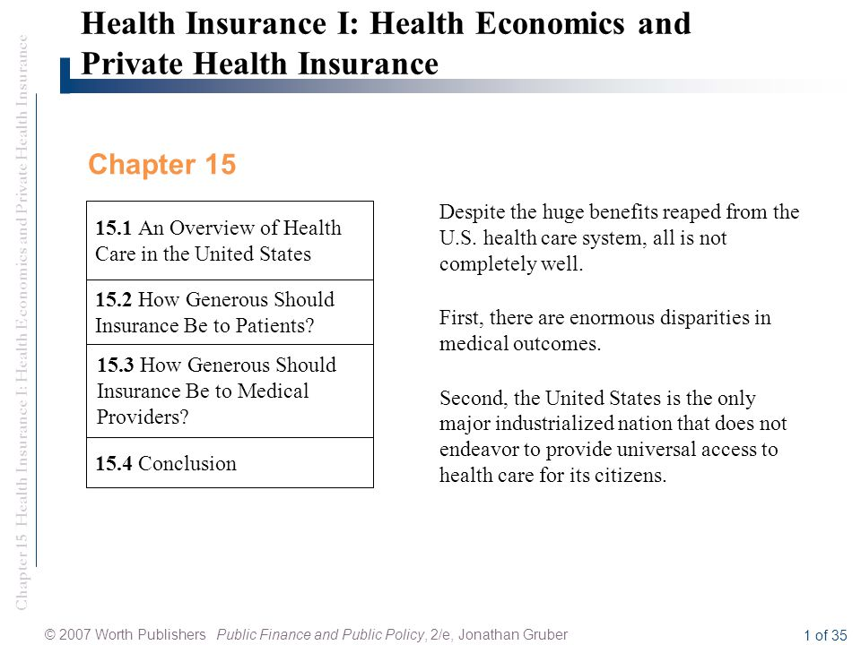 Chapter 15 Health Insurance I: Health Economics and Private Health Insurance © 2007 Worth Publishers Public Finance and Public Policy, 2/e, Jonathan Gruber 1 of 35 15.4 Conclusion Health Insurance I: Health Economics and Private Health Insurance 15.3 How Generous Should Insurance Be to Medical Providers.