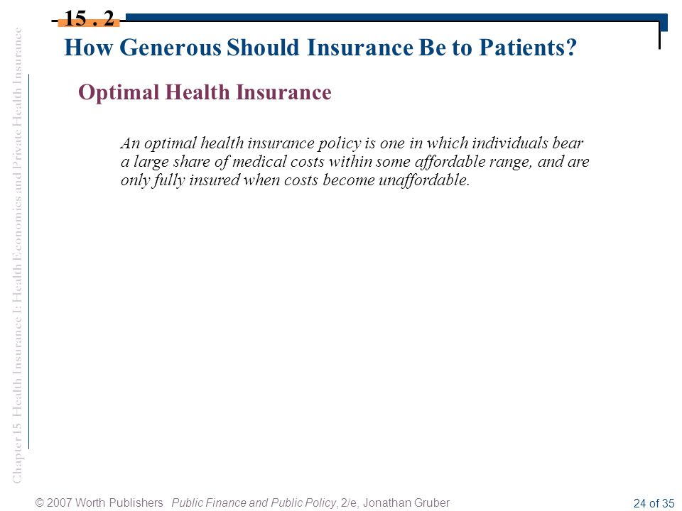 Chapter 15 Health Insurance I: Health Economics and Private Health Insurance © 2007 Worth Publishers Public Finance and Public Policy, 2/e, Jonathan Gruber 24 of 35 How Generous Should Insurance Be to Patients.