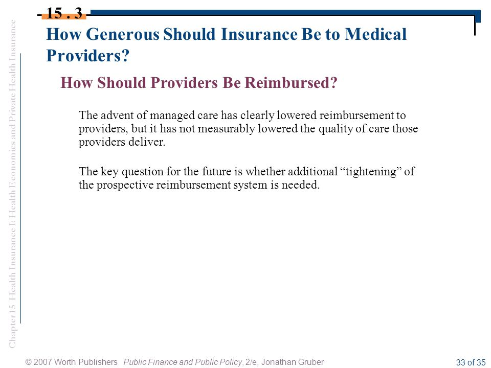 Chapter 15 Health Insurance I: Health Economics and Private Health Insurance © 2007 Worth Publishers Public Finance and Public Policy, 2/e, Jonathan Gruber 33 of 35 How Generous Should Insurance Be to Medical Providers.