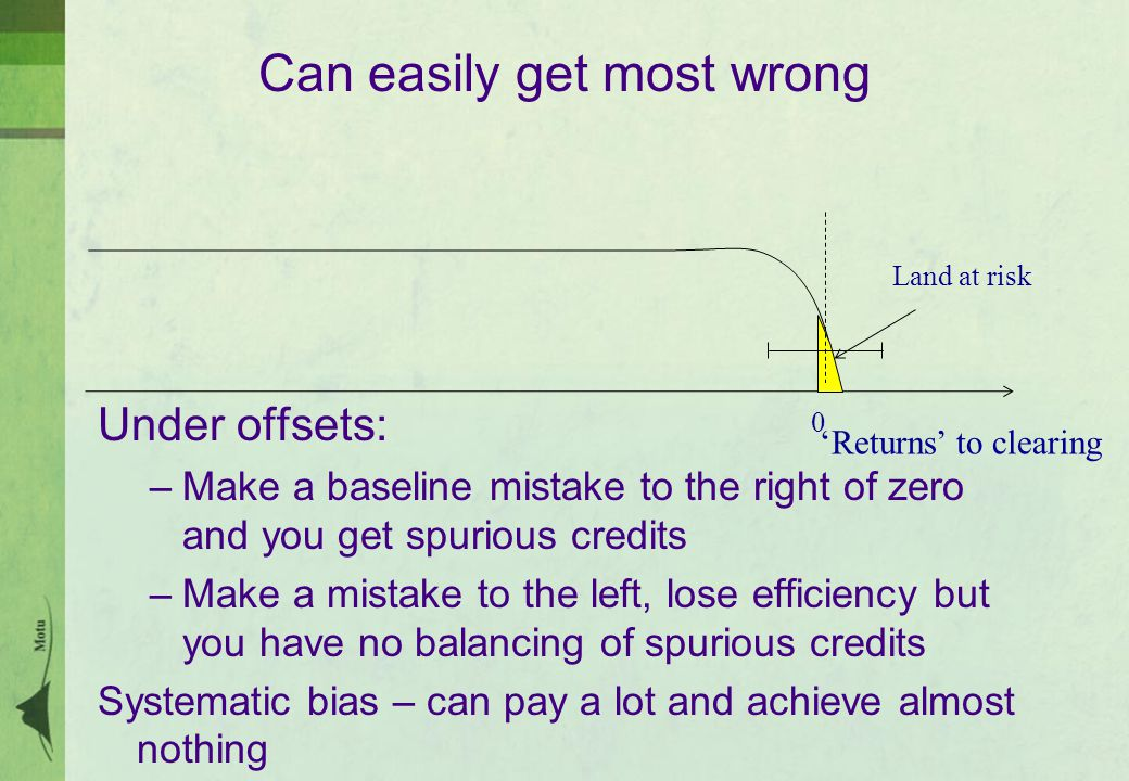 Can easily get most wrong Under offsets: –Make a baseline mistake to the right of zero and you get spurious credits –Make a mistake to the left, lose efficiency but you have no balancing of spurious credits Systematic bias – can pay a lot and achieve almost nothing 'Returns' to clearing 0 Land at risk
