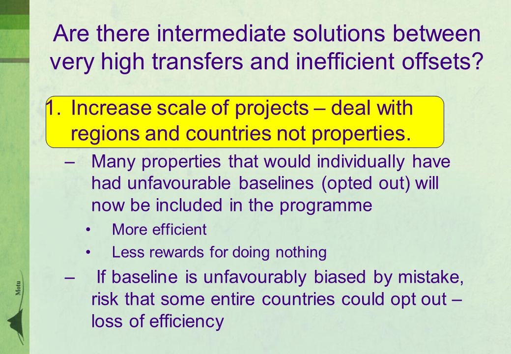 Are there intermediate solutions between very high transfers and inefficient offsets.