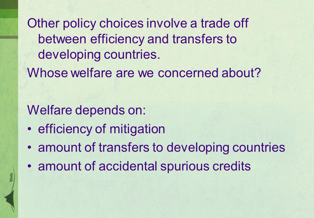 Other policy choices involve a trade off between efficiency and transfers to developing countries.