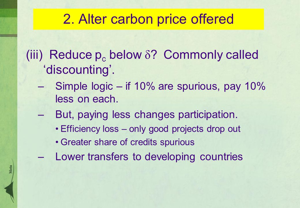 2. Alter carbon price offered (iii) Reduce p c below δ .