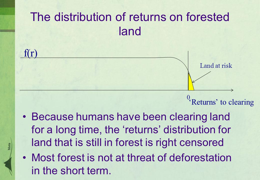 The distribution of returns on forested land Because humans have been clearing land for a long time, the 'returns' distribution for land that is still in forest is right censored Most forest is not at threat of deforestation in the short term.