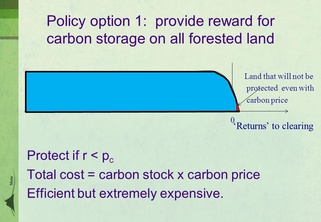 Policy option 1: provide reward for carbon storage on all forested land Protect if r < p c Total cost = carbon stock x carbon price Efficient but extremely expensive.