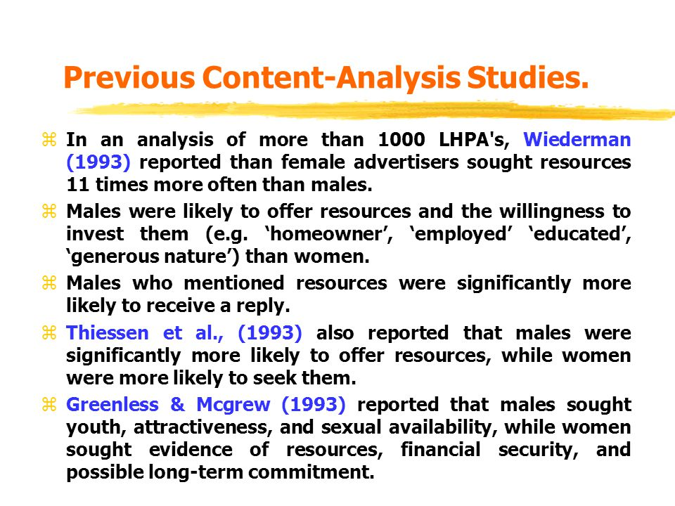 Previous Content-Analysis Studies. zIn an analysis of more than 1000 LHPA's, Wiederman (1993) reported than female advertisers sought resources 11 tim