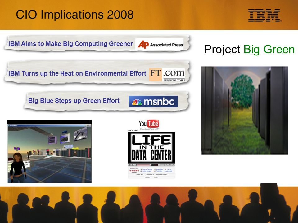 Project Big Green IBM Turns up the Heat on Environmental Effort Big Blue Steps up Green Effort IBM Aims to Make Big Computing Greener